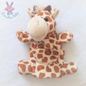 Doudou marionnette Girafe beige marron poche HISTOIRE D'OURS