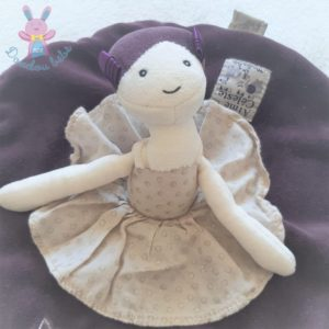Doudou plat Poupée Aimé et Céleste rond violet MOULIN ROTY