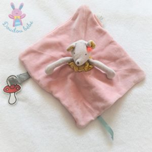 Doudou plat Souris gris rose Mademoiselle et Ribambelle MOULIN ROTY