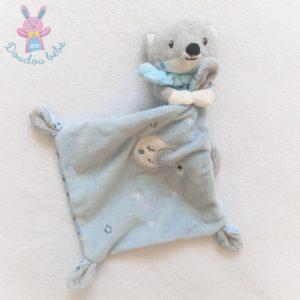 Doudou Renard gris blanc mouchoir bleu lune étoiles POMMETTE