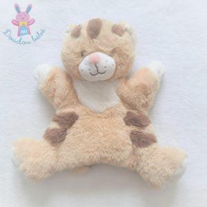 Doudou marionnette Tigre beige marron et blanc TEX BABY