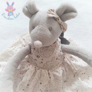 Doudou Souris grise robe rose nœud TARTINE ET CHOCOLAT