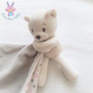 Doudou ours blanc mouchoir étoiles rose gris MATHILDE M