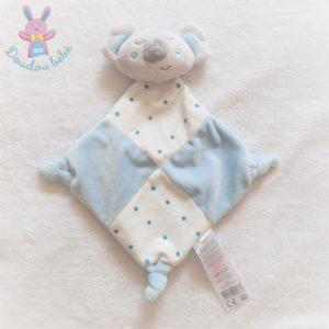 Doudou plat Koala grelot blanc gris bleu étoiles TOM & KIDDY