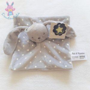 Doudou plat Lapin gris blanc étoiles luminescent PAT & RIPATON