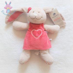 Doudou Lapin Anna et Pili rose beige robe cœur 25 cm NOUKIE'S