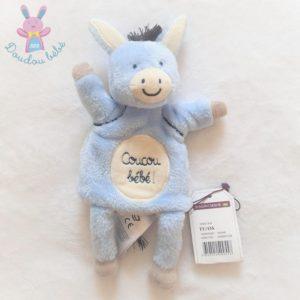 """Doudou marionnette Ane bleu blanc """"Coucou bébé"""" SERGENT MAJOR"""