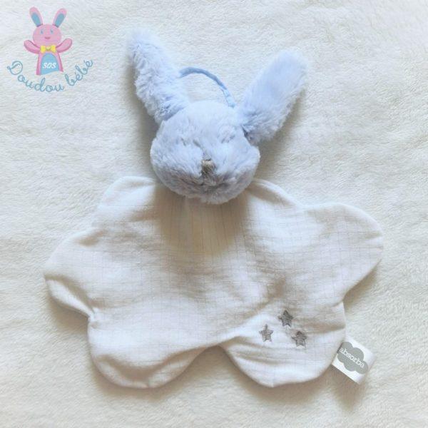 Doudou plat LAPIN tête fourrure bleu et tissu coton blanc brodé étoiles grises