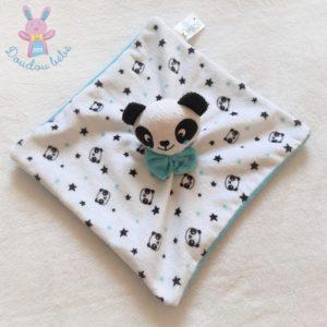 Doudou plat Panda blanc bleu noir étoiles nœud KIMADI