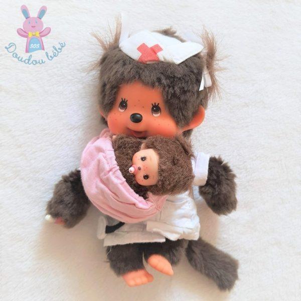 Monchhicci infirmière singe Kiki et son bébé 20 cm