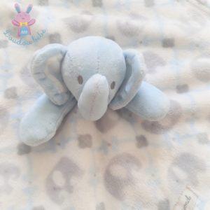 Doudou plat éléphant bleu blanc gris BLANKETS & BEYOND