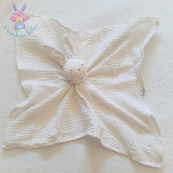 Doudou plat Lapin lange blanc écru nœud papillon ELODIE DETAILS