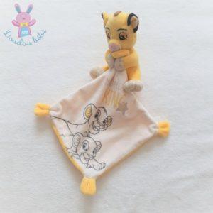 Doudou Roi Lion mouchoir blanc jaune My little king DISNEY