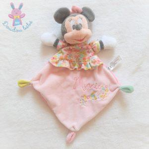 Doudou plat Minnie rose noir blanc motif fleurs DISNEY