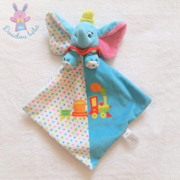 Doudou plat éléphant Dumbo bleu blanc étoiles train DISNEY