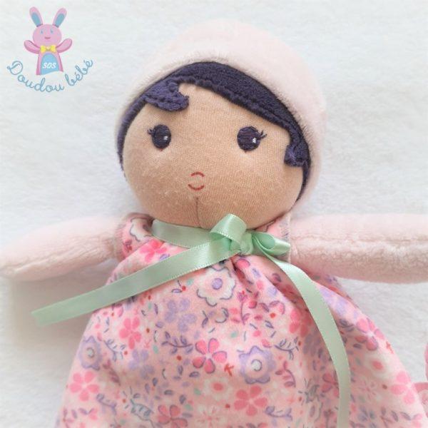 Doudou Poupée chiffon rose robe motif fleurs 25 cm KALOO