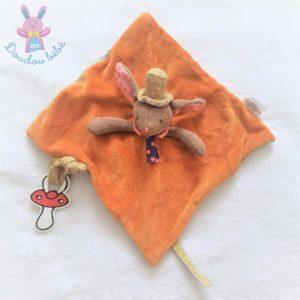 Doudou plat Lapin Les Tartempois orange marron rayé MOULIN ROTY