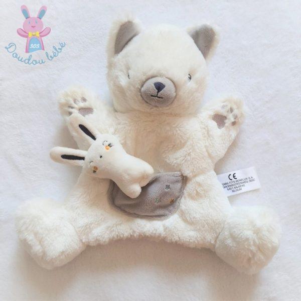 Doudou marionnette Chat poche lapin blanc gris SIMBA