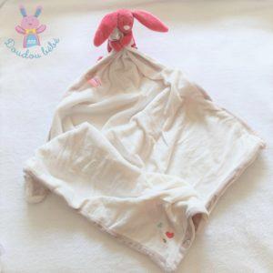 Doudou Lapin Pili rose «Ma première couverture» blanc beige NOUKIE'S