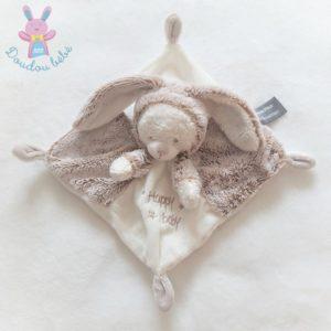 Doudou plat Ours déguisé en Lapin Happy baby beige blanc ORCHESTRA