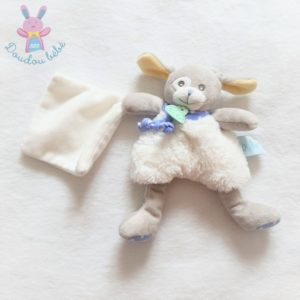 Doudou Chien Poupi blanc gris bleu mouchoir BABY NAT