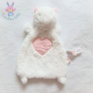 Doudou plat Chat fourrure blanc cœur rose SERGENT MAJOR