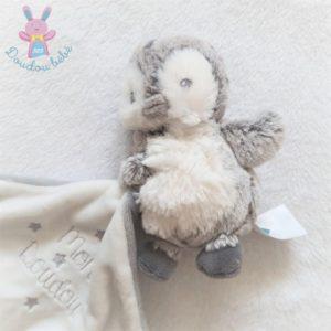 Mon doudou Pingouin gris blanc mouchoir étoiles attache tétine TEX