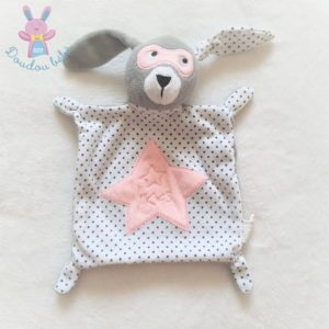 Doudou plat Lapin masqué gris blanc et rose étoiles IKKS