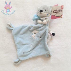 Doudou Renard gris blanc bleu mouchoir lune étoiles POMMETTE