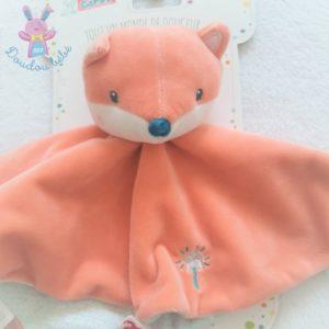 Doudou plat Renard orange bleu baguette étoile attache tétine GIPSY