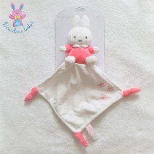 Doudou Lapin Miffy Nijntje rose blanc mouchoir fleurs TIAMO