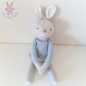 Doudou Lapin gris pull bleu rayé blanc OBAIBI OKAIDI
