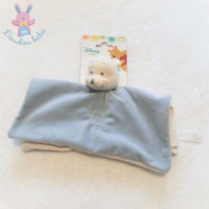 Doudou plat Ours Winnie the Pooh bleu clair et blanc écru DISNEY