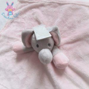 Doudou plat éléphant polaire rose et gris tout doux BABYTOWN