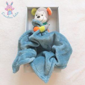 Doudou Singe multicolore avec couverture bleu NICOTOY SIMBA