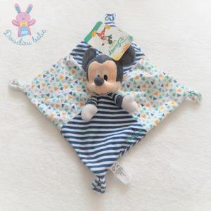 Doudou plat Mickey rayé bleu marine et blanc triangles colorés DISNEY