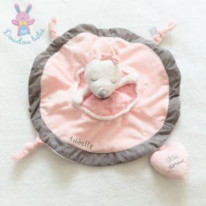 Doudou plat Souris Lilibelle cœur «little amour» rose et gris SAUTHON