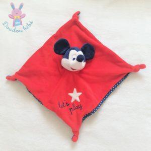 "Doudou plat Mickey rouge bleu étoile ""Let's play"" DISNEY"