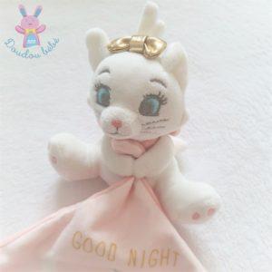 Doudou Chat Marie blanc rose mouchoir Good Night DISNEY