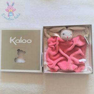Doudou plat Lapin plume gris rose framboise et blanc KALOO