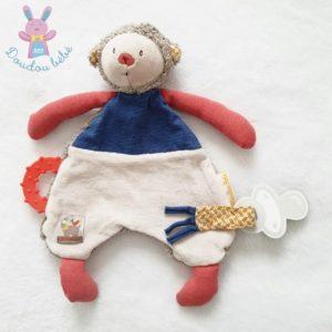 Doudou plat Singe Les Papoum bleu beige rouge MOULIN ROTY