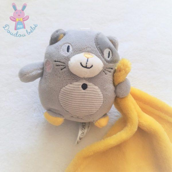 Doudou Chat gris rayé couverture mouchoir jaune NICOTOY