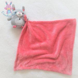 Doudou Lapin gris rayé couverture mouchoir rose fuchsia NICOTOY