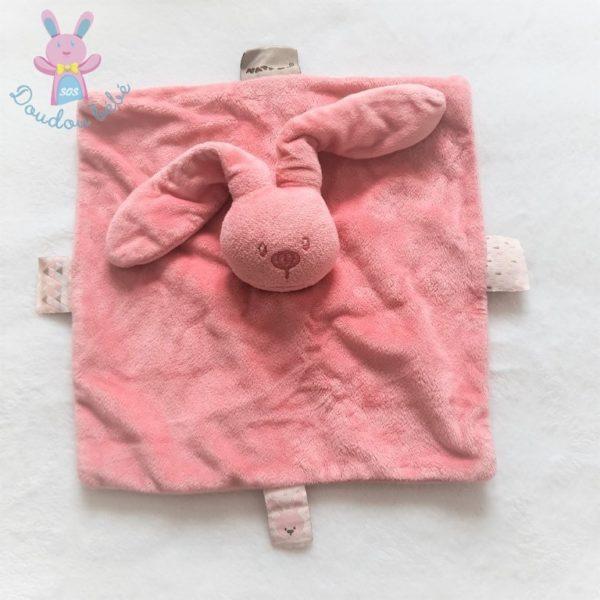 Doudou plat Lapin rose framboise étiquettes NATTOU