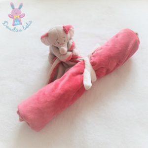 Doudou éléphant Anna rose «Ma première couverture» beige NOUKIE'S