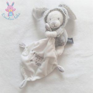 Doudou Ours déguisé en Lapin gris mouchoir Happy Baby ORCHESTRA