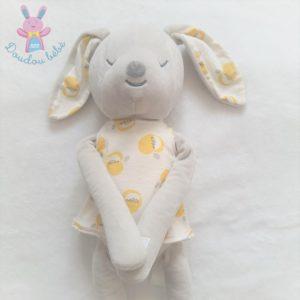Doudou Lapin gris blanc et blanc robe pommes jaune OBAIBI