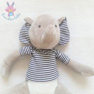 Doudou éléphant gris blanc oreilles t-shirt rayé bleu OBAIBI OKAIDI