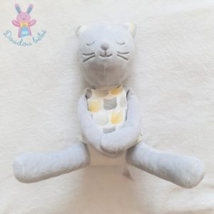 Doudou Chat gris blanc robe motifs gris jaune OBAIBI OKAIDI