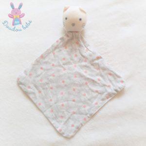 Doudou plat Chat tissu blanc gris rose motif fleurs OBAIBI OKAIDI